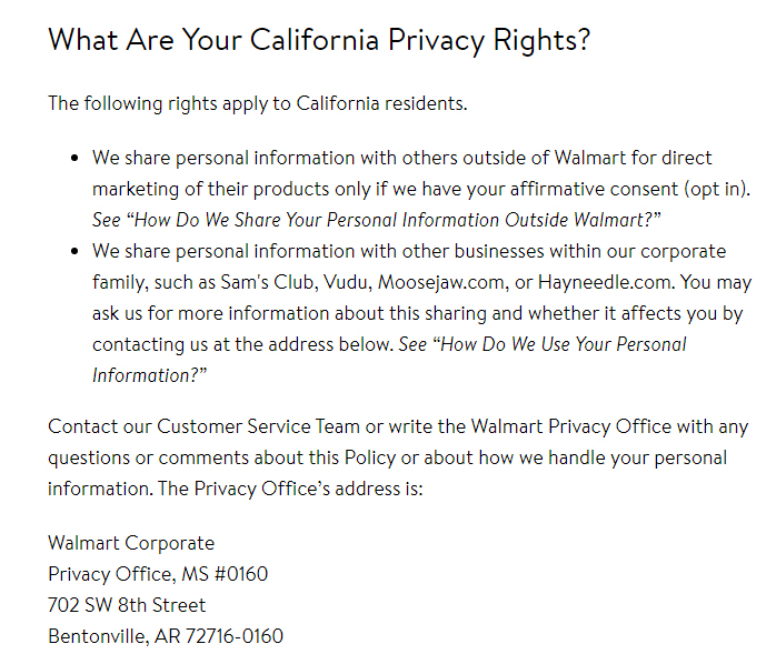 Walmart Privacy Policy: What Are Your California Privacy Rights clause