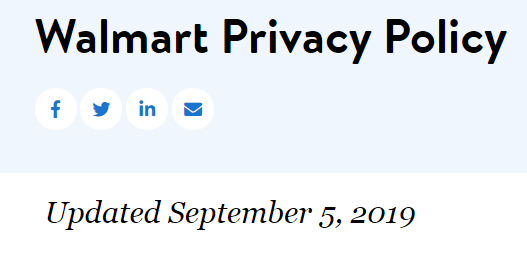 Walmart Privacy Policy: Updated date