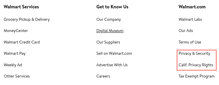 Walmart website footer links: Privacy and Security and California Privacy Rights links highlighted