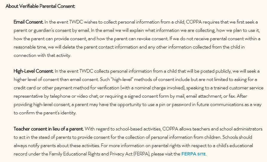 Walt Disney Company Children's Online Privacy Policy: About Verifiable Parental Consent clause