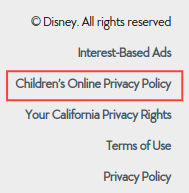 Walt Disney Company website footer with links: Children's Online Privacy Policy highlighted