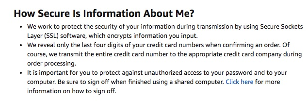 Amazon Privacy Notice: How Secure is Information About Me clause