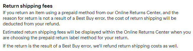 Best Buy Returns and Exchanges Policy: Return shipping fees section