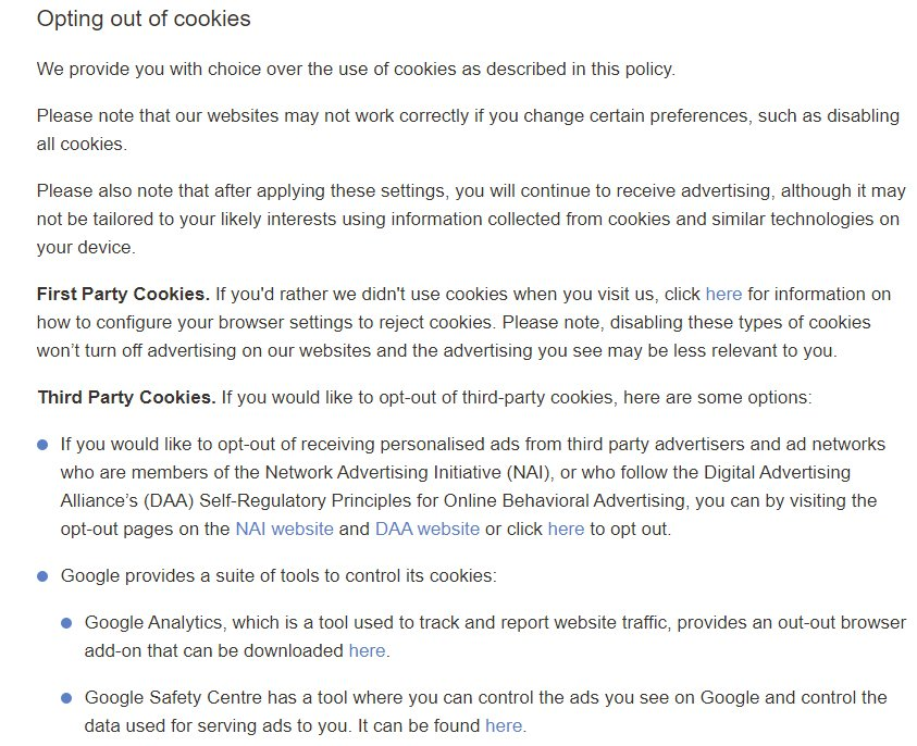 Conde Nast Cookie Notice: Excerpt of Opting Out of Cookies clause