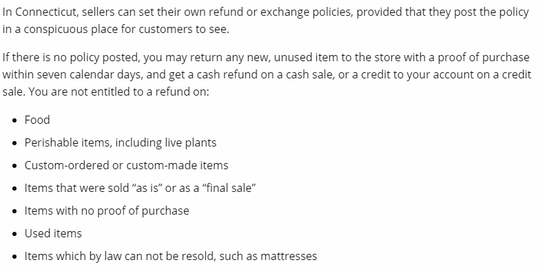 Connecticut State Department of Consumer Protection: Returns and Exchanges