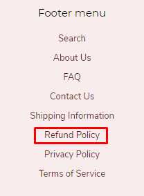 Fran's Cake and Candy website footer links with Refund Policy link highlighted