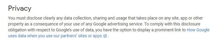 Google AdSense Program Policies: Privacy clause