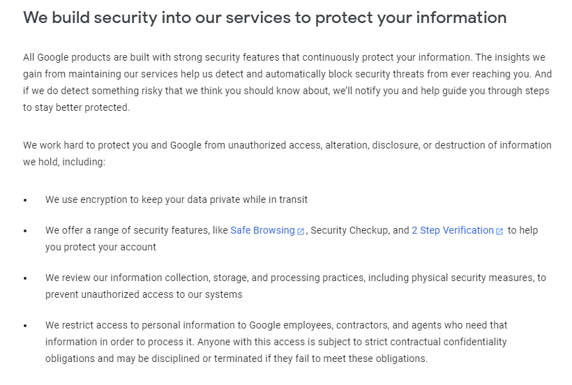 Google Privacy Policy: Security clause