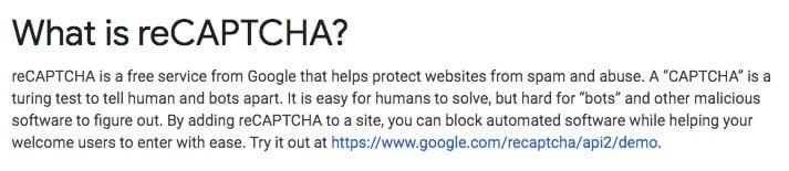 Google reCAPTCHA help: Definition of reCAPTCHA