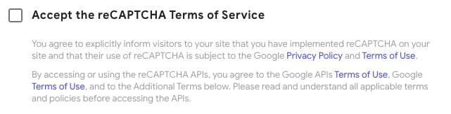 Google reCAPTCHA Invisible Badge: Accept the reCAPTCHA Terms of Service checkbox