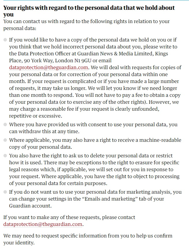 The Guardian Privacy Policy: Your rights with regard to the personal data we hold about you clause