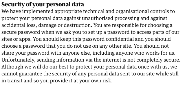 The Guardian Privacy Policy: Security of your personal data clause