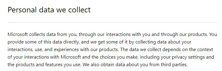 Microsoft Privacy Statement: Personal Data We Collect clause