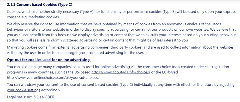 Nivea Privacy Policy: Consent based Cookies clause