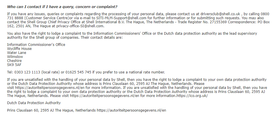 Shell Driver's Club UK Privacy Policy: Contact clause