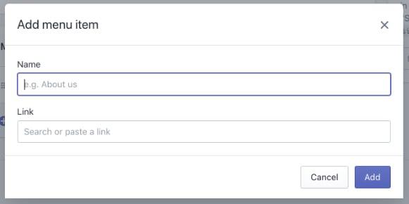 Shopify dashboard: Add menu item screen