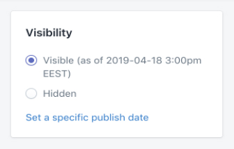 Shopify dashboard: Page Visibility option
