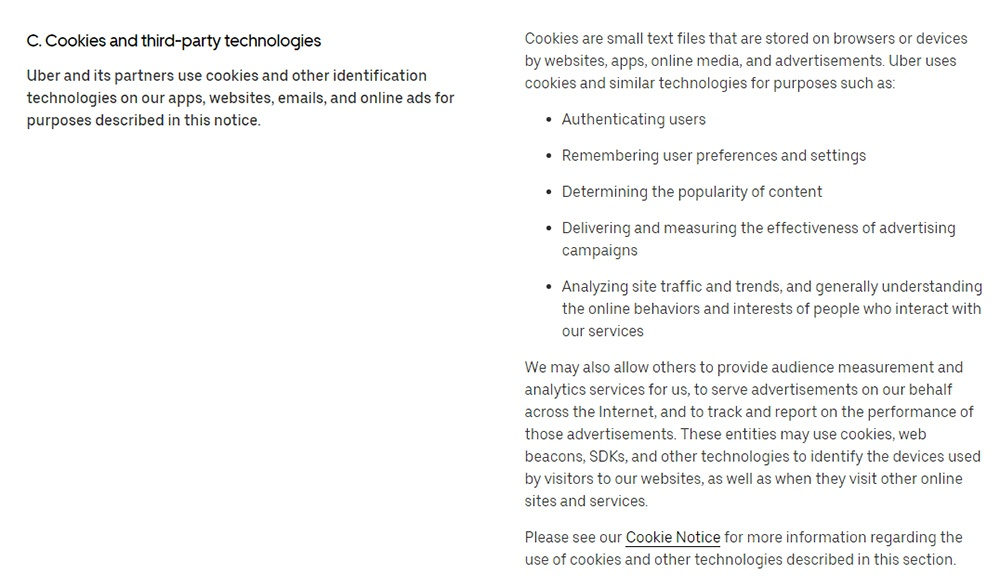 Uber Privacy Notice: Cookies and Third-Party Technologies