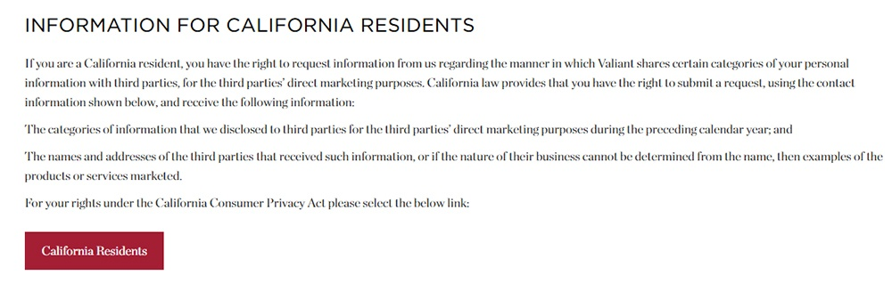 Valiant Privacy Statement: Information for California Residents clause