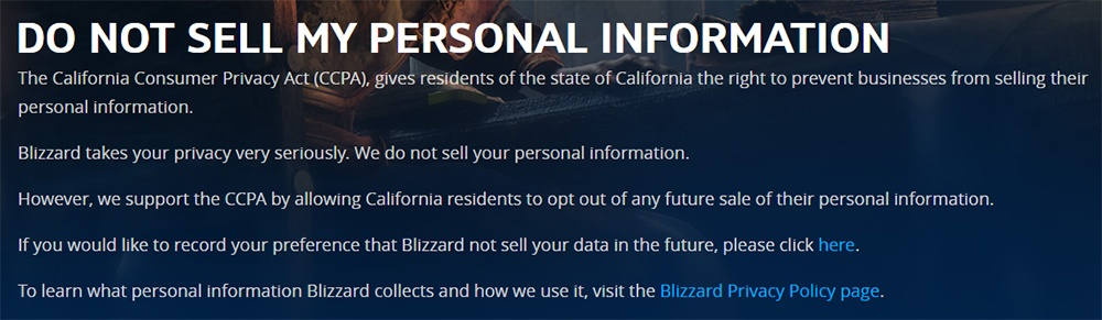 Blizzard: Do Not Sell My Personal Information page