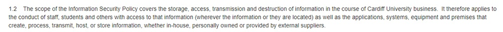 Cardiff University: Information Security Policy - Scope clause