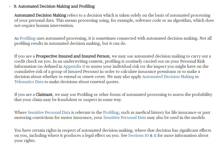 Chubb Privacy Policy: Automated Decision Making and Profiling clause