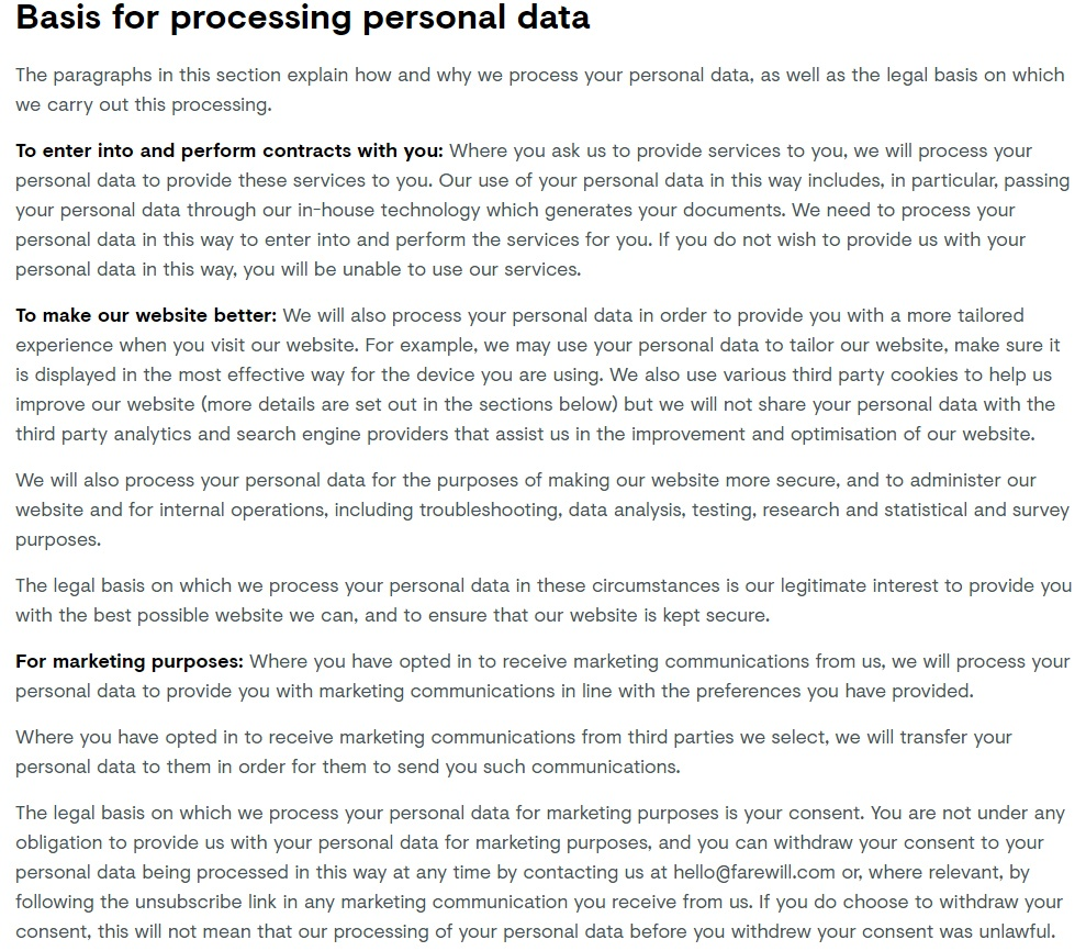Farewill Privacy Policy: Basis for Processing Personal Data clause