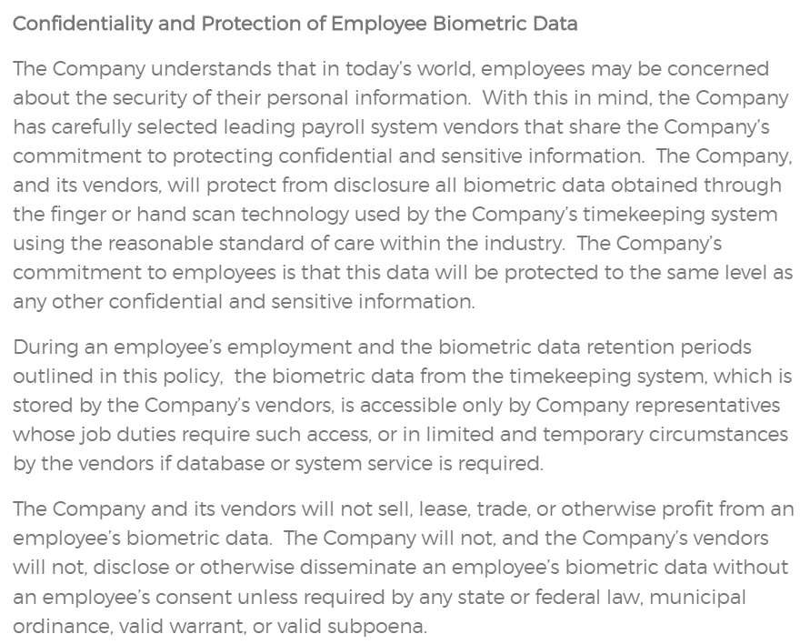 Homz Biometric Data Policy: Confidentiality and Protection of Employee Biometric Data section
