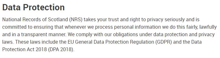 National Records of Scotland: Data Protection notice