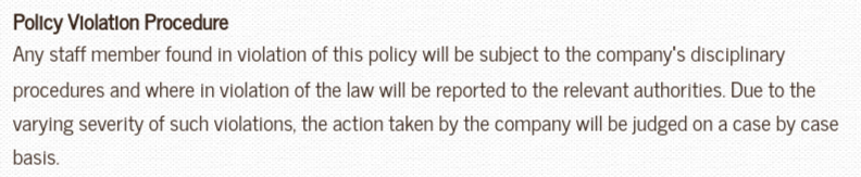 Neville Registrars: Cyber Security Policy - Policy Violation Procedure clause
