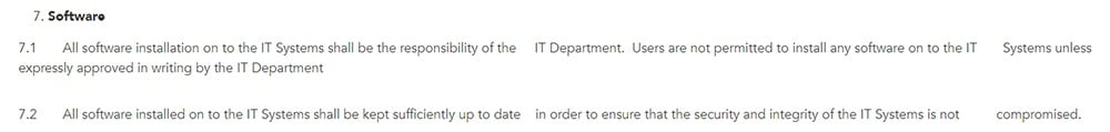 Reddico: IT Security Policy - Software clause