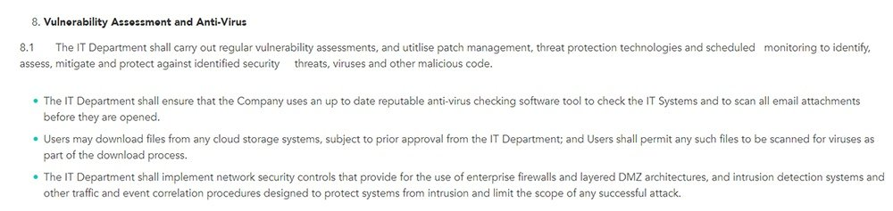 Reddico: IT Security Policy - Vulnerability Assessment and Anti-Virus clause