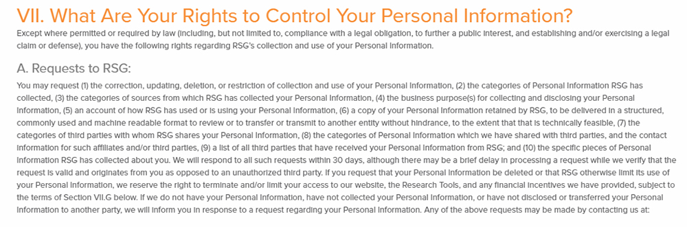 RSG Privacy Policy: What Are Your Rights to Control Your Personal Information clause - Requests to RSG section
