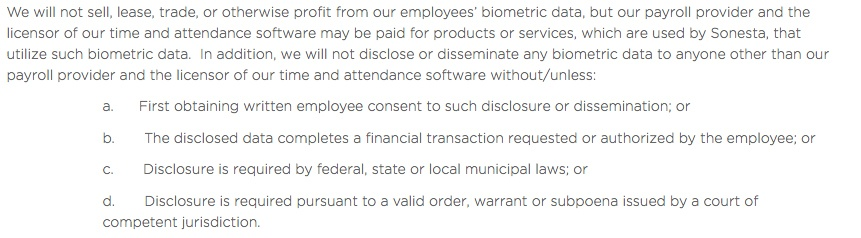 Sonesta Biometric Information Privacy Policy: Sell, trade or profit from data section