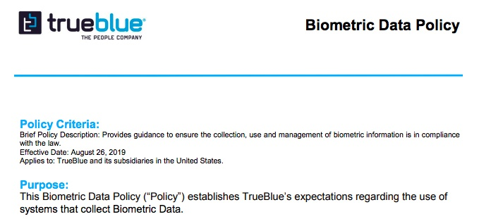 TrueBlue Biometric Data Policy: Policy Criteria and Purpose sections
