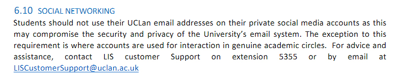 UCLan: IT Security Policy - Social Networking clause