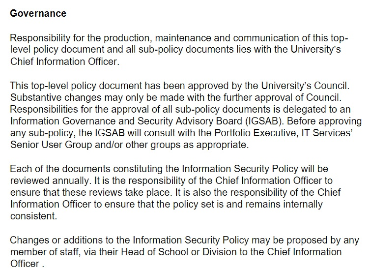 University of Bristol: Information Security Policy - Governance clause
