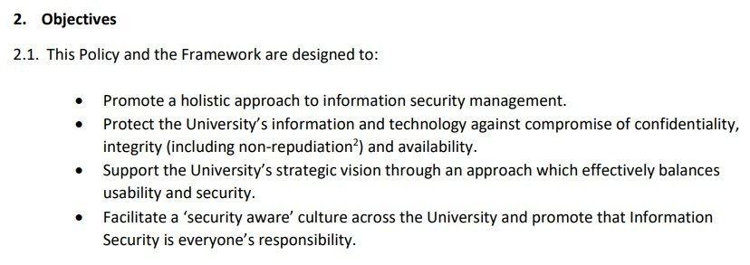 University of Edinburgh: Information Security Policy - Excerpt of Objectives clause