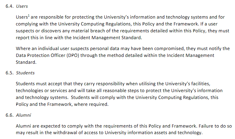 University of Edinburgh: Information Security Policy - Excerpt of Responsibilities clause