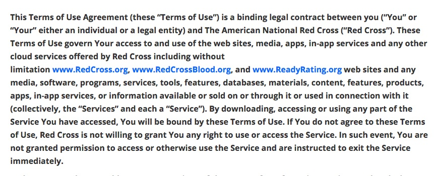 American Red Cross Terms of Use: Browsewrap clause