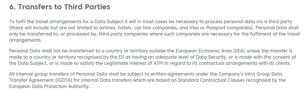 ATPI GDPR Privacy Notice: Transfers to Third Parties clause