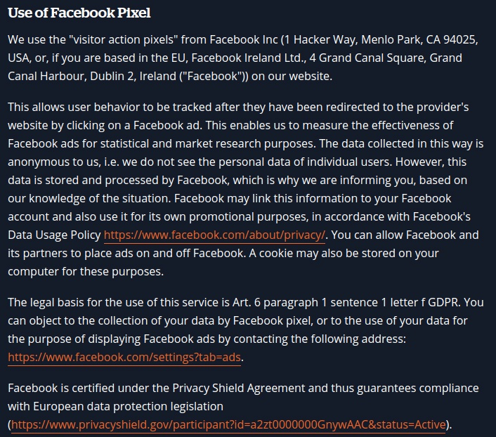 Bandzoogle Privacy Policy: Use of Facebook Pixel clause