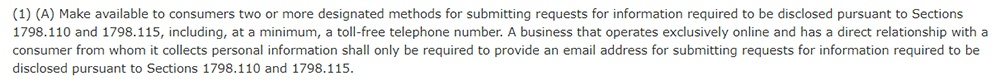 California Legislative Information: CCPA Section 1798 30 1 A - Toll-free number requirement
