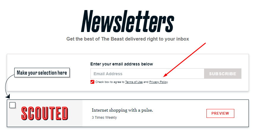 Daily Beast newsletters sign-up page with Privacy Policy link highlighted