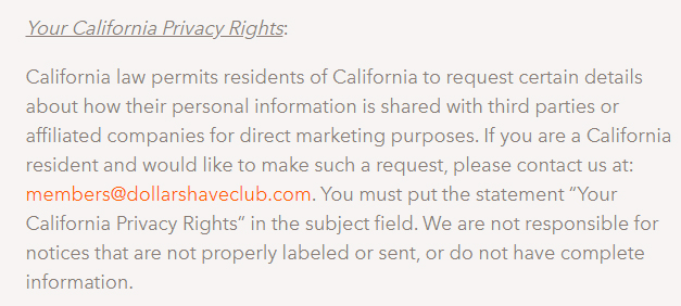 Dollar Shave Club Privacy Policy: Your California Privacy Rights clause