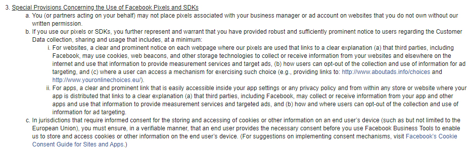 Facebook Business Tools Terms: Special Provisions Concerning the Use of Facebook Pixels and SDKs clause