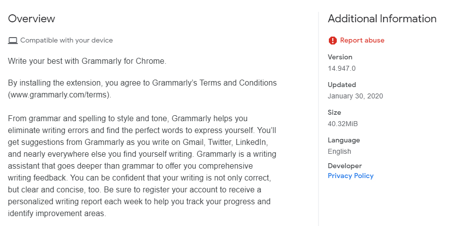 Grammarly Chrome Web Store listing: Overview and Information section