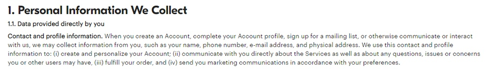 GrubHub Privacy Policy: Personal Information We Collect - Contact and profile information clause