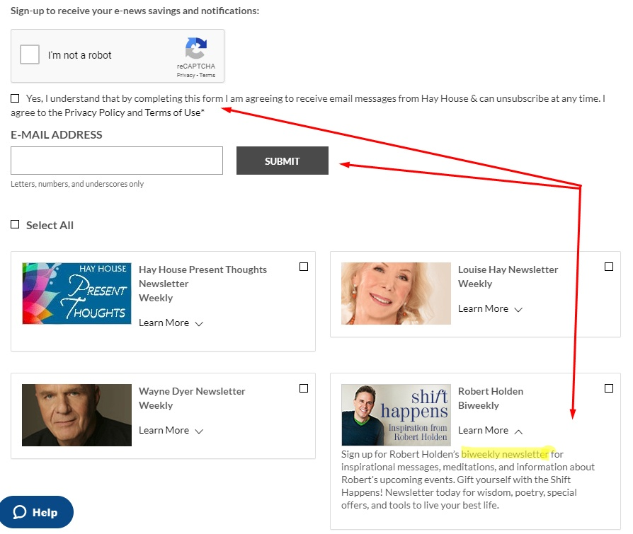 Hay House email newsletter sign-up page with checkboxes for consent