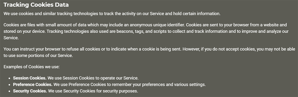 Henrys House of Coffee Privacy Policy: Tracking Cookies Data clause